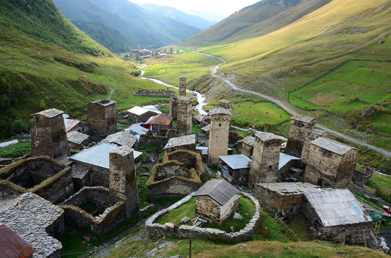 Chazhashi and Murqmeli villages,part of highest European settlement in Upper Svaneti, Georgia, Caucasus, unesco heritage site.View from queen Tamar tower